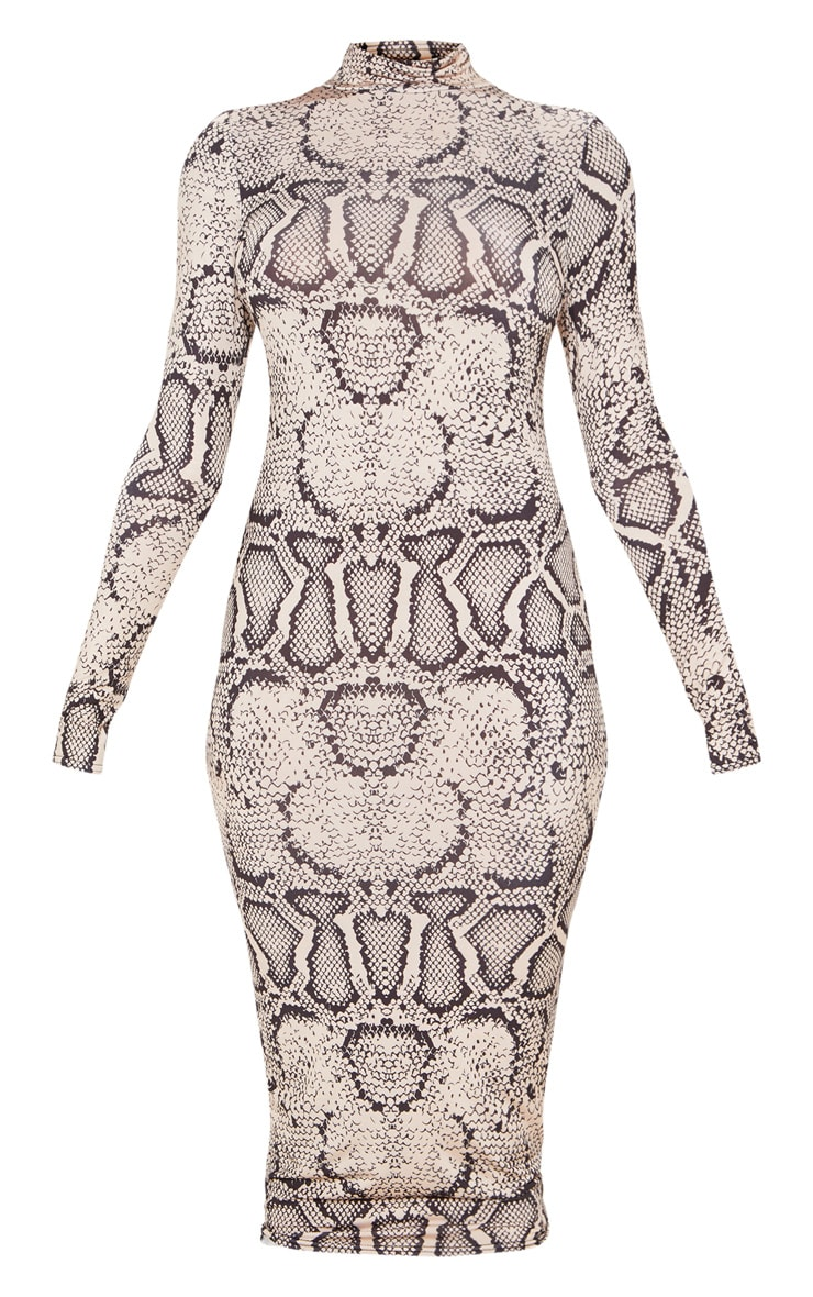 Tall Taupe Snake Print Slinky High Neck Midi Dress 3