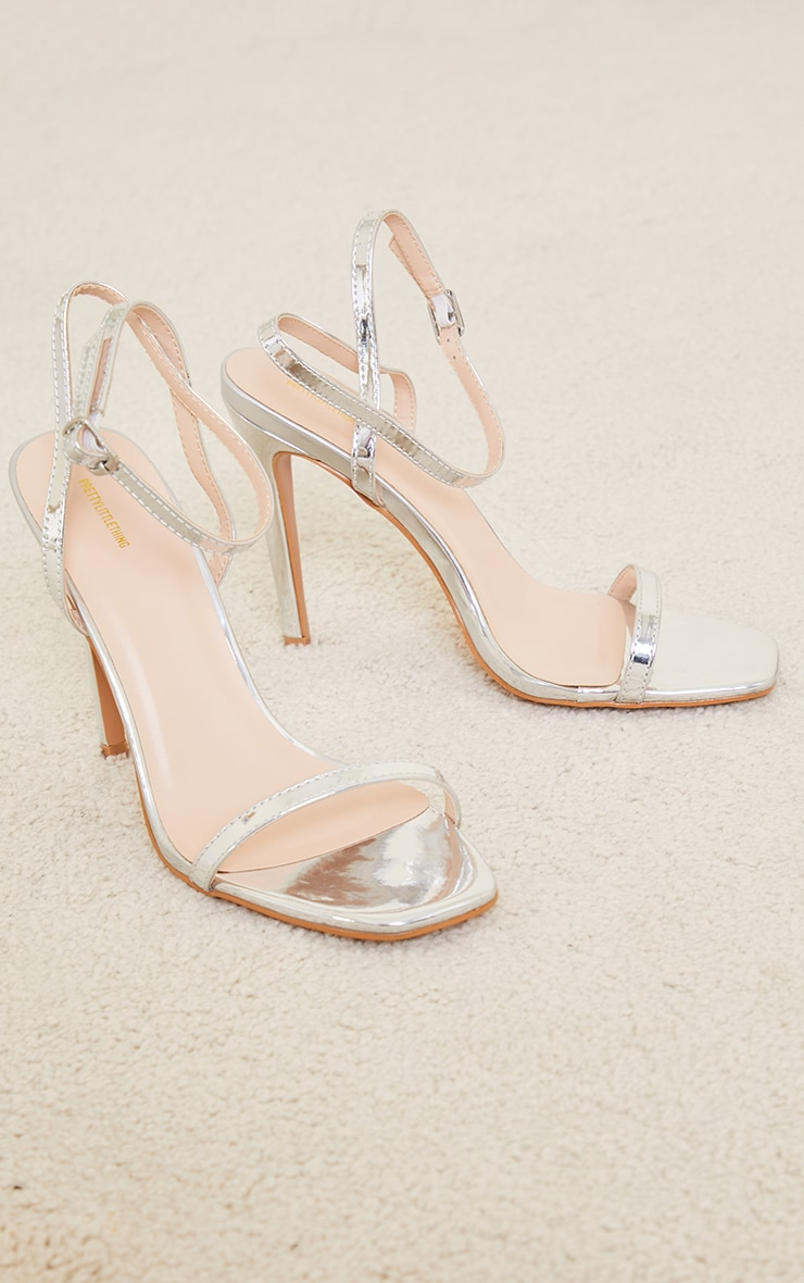 Silver PU Square Toe Barely There Strappy High Heels 3