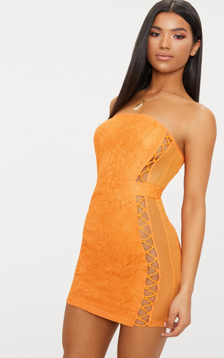 Orange Lace Bandeau Mesh Panel Lace Up Bodycon Dress  1