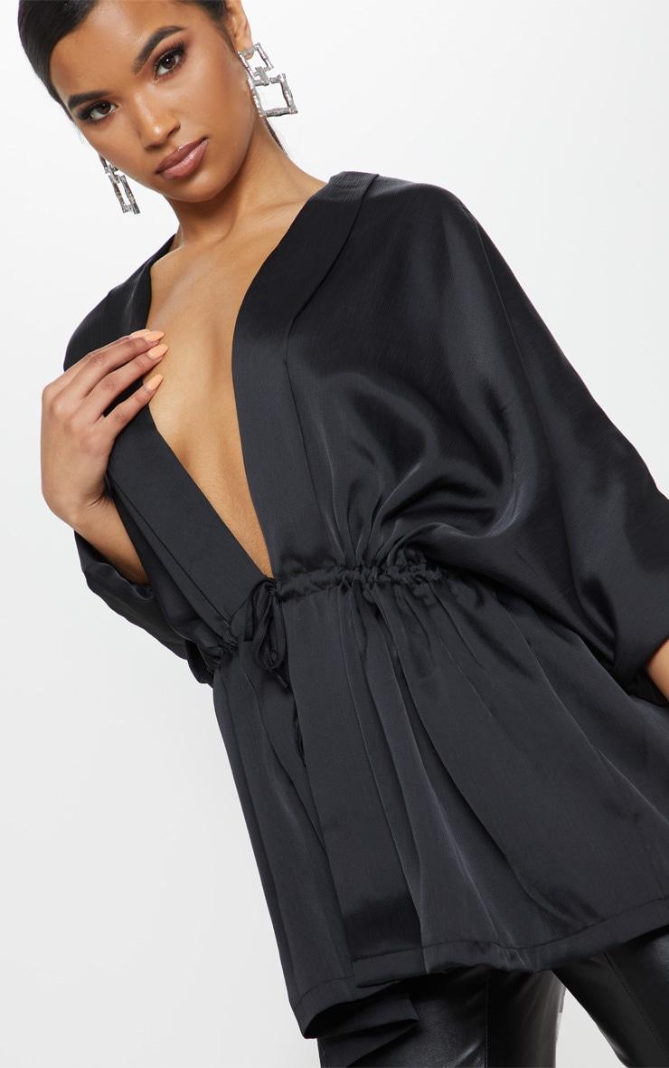 Black Textured Woven Plunge Tie Waist Blouse 5