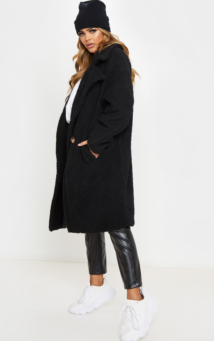 Petite Black Borg Oversized Coat 4