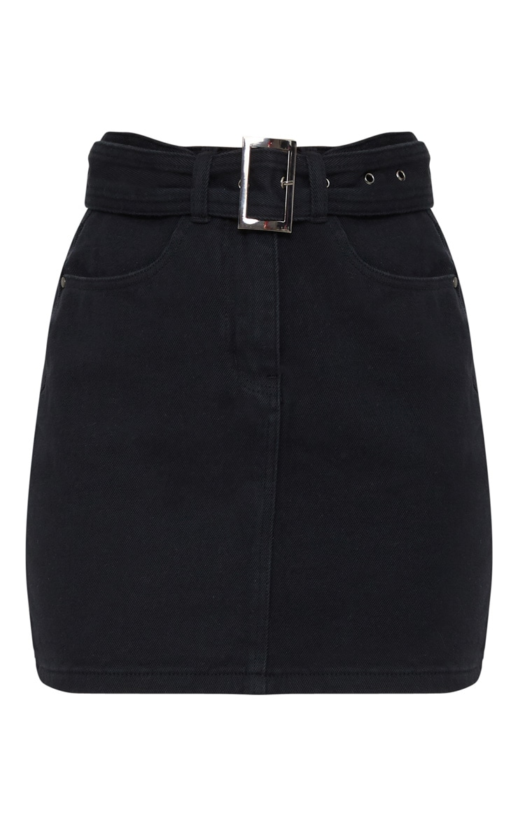 Black Buckle Detail Denim Mini Skirt 3