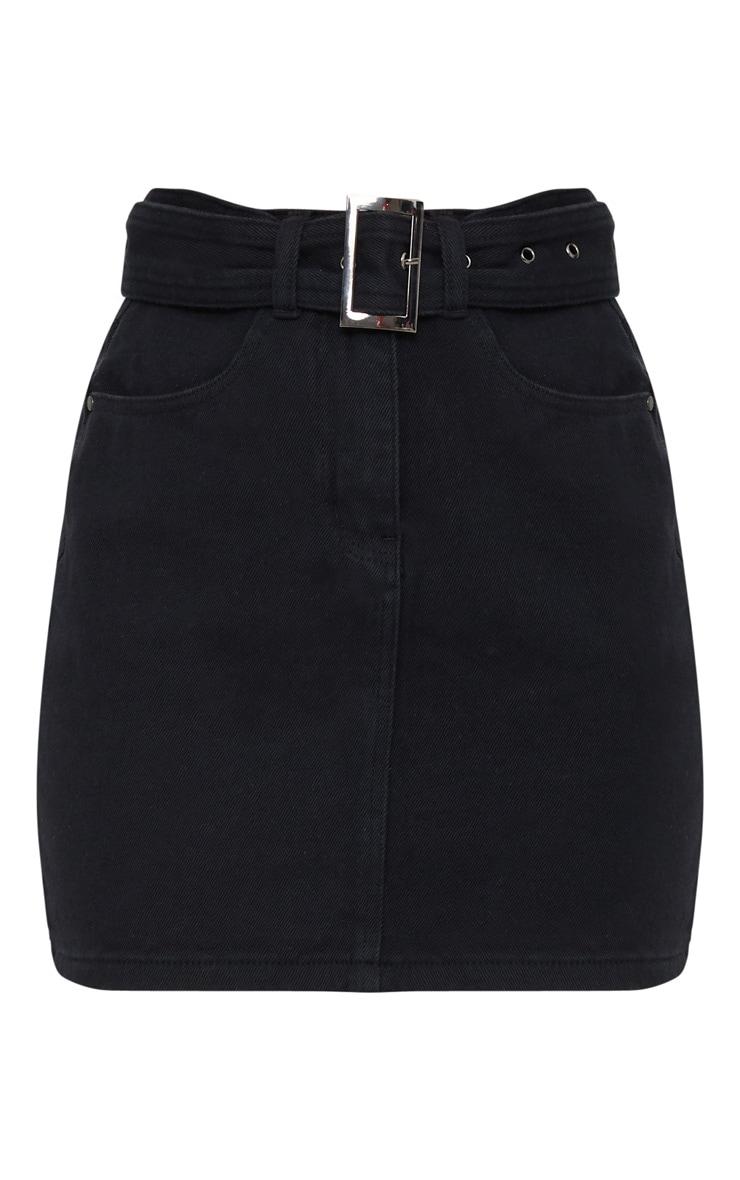 Mini-jupe noire en jean à détail boucle 3