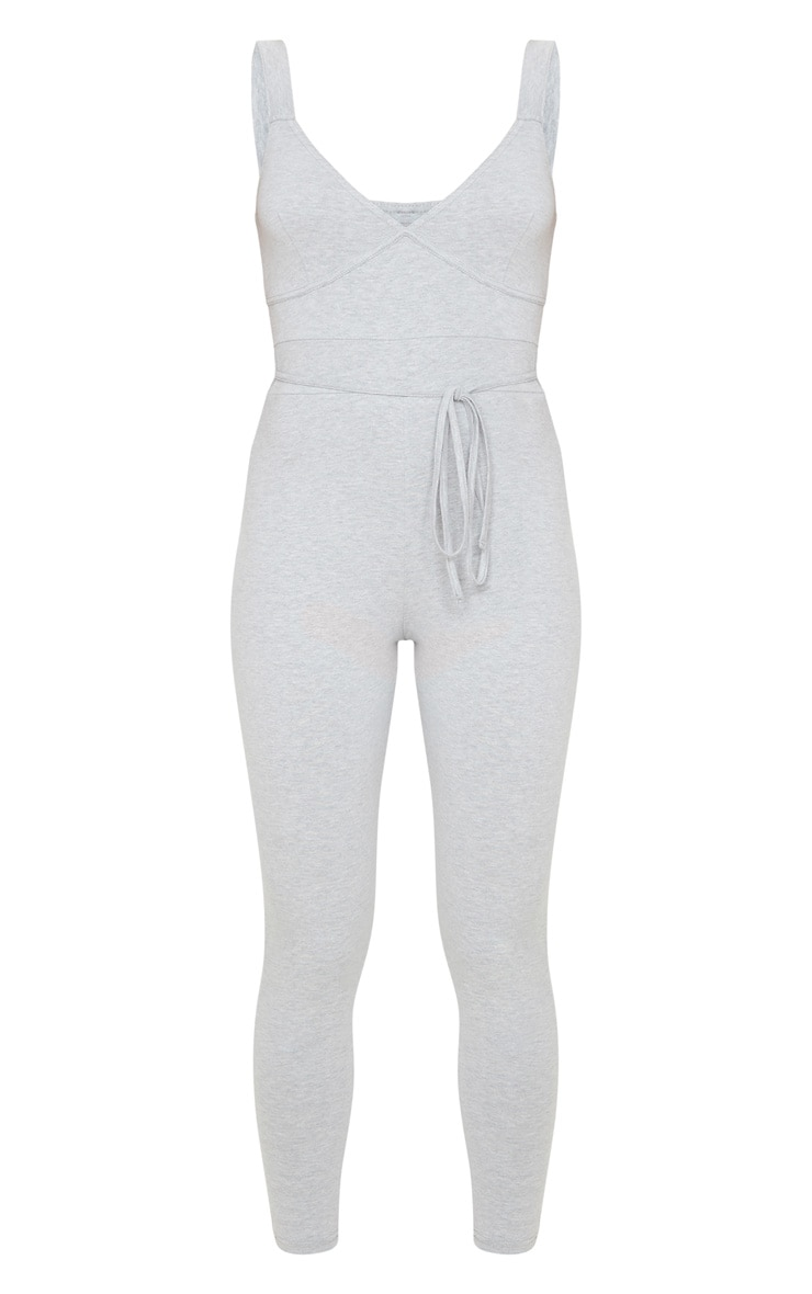 Grey Binding Tie Waist Jumpsuit 3
