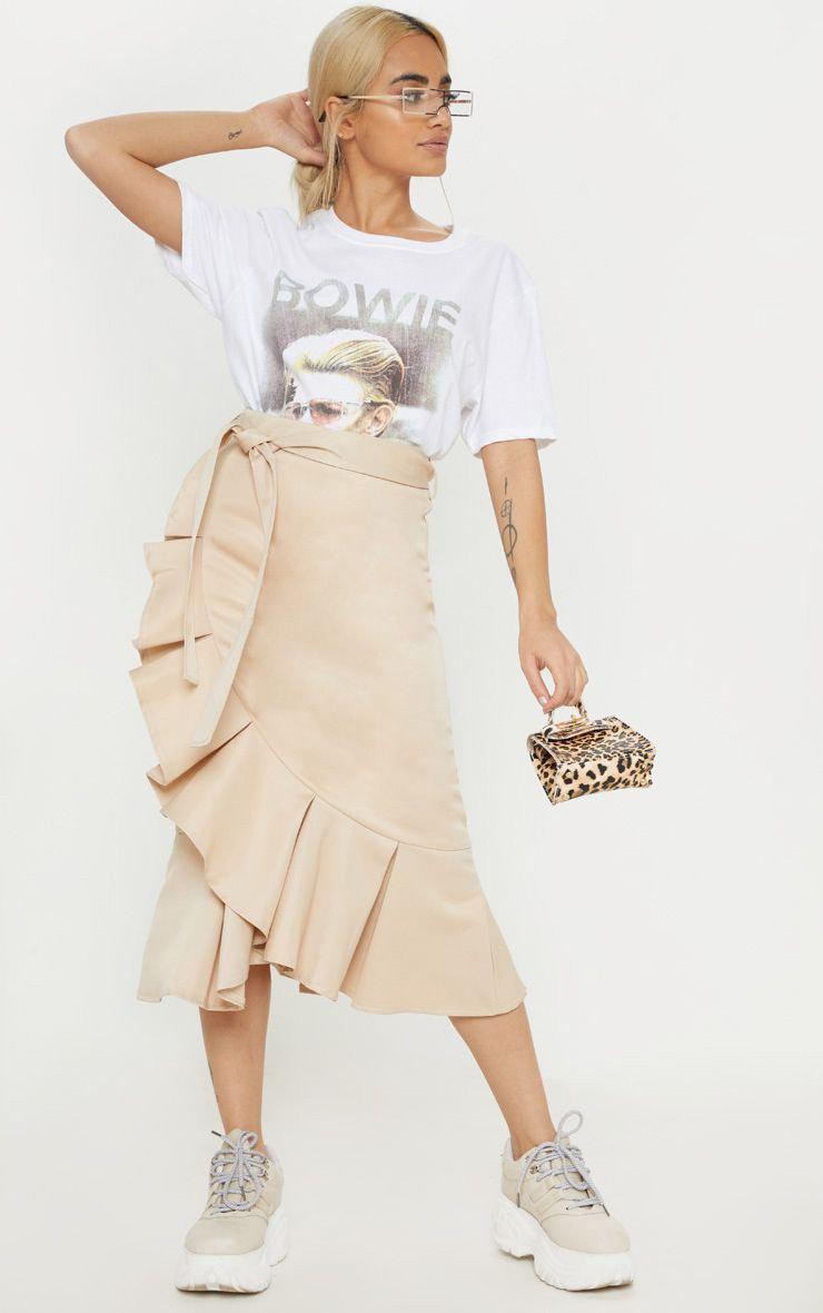 Petite Stone Woven Frill Detail Midi Skirt  1