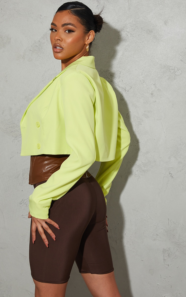 Lime Double Breasted Cropped Blazer 2