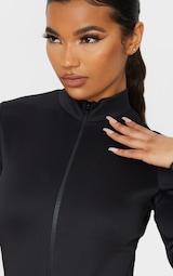 Black Bonded Scuba High Neck Zip Bodysuit 6