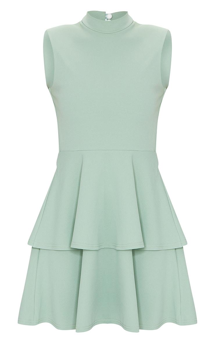 Sage Green Sleeveless Shoulder Pad Detail Tiered Skater Dress 5
