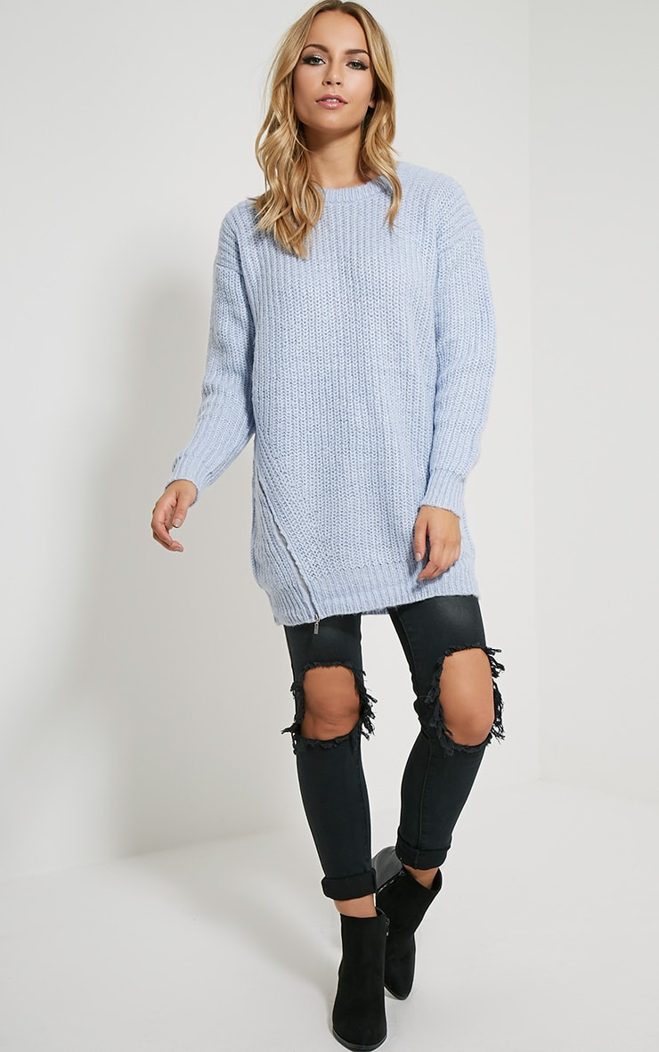 Lilja Chalk Blue Zip Detail Jumper 3