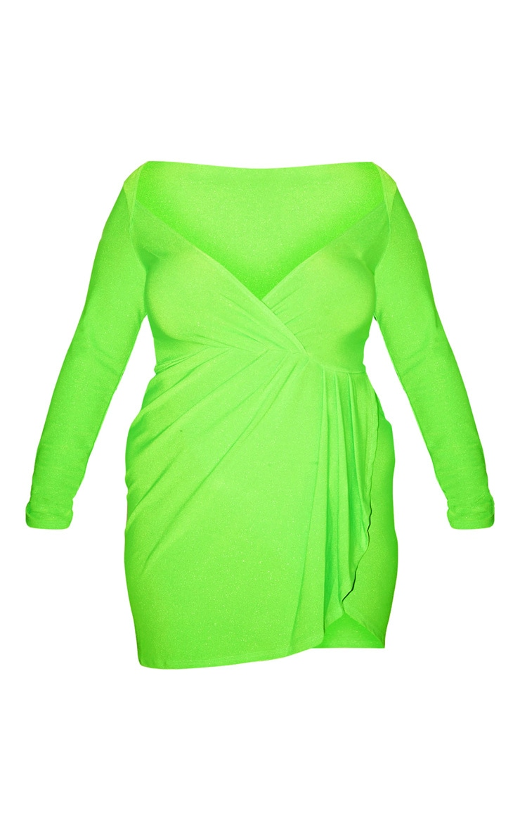 Plus Neon Lime Glitter Pleat Front Bodycon Dress 3