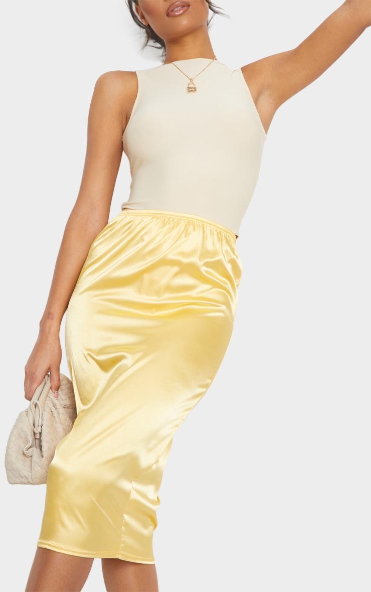 Golden Yellow Satin Midi Skirt 4