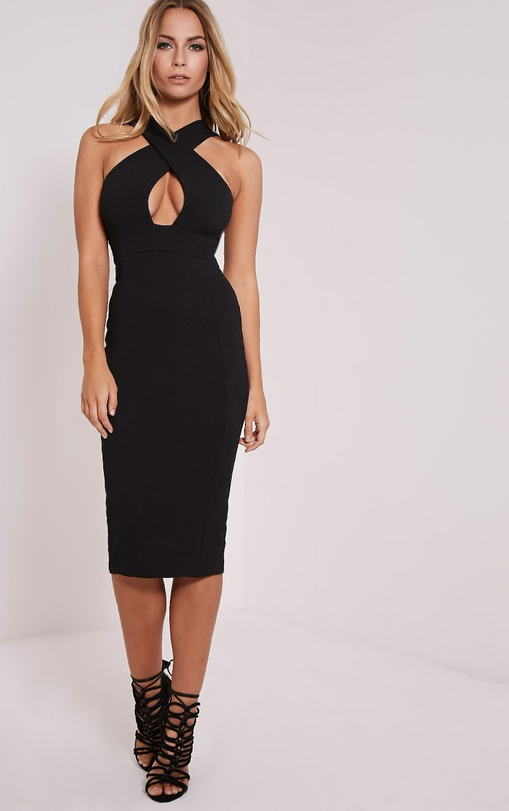Lina Black Cross Front Midi Dress 1