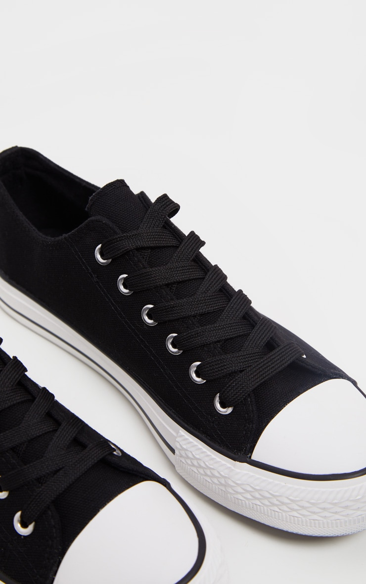 Black Lace Up Canvas Sneakers  4