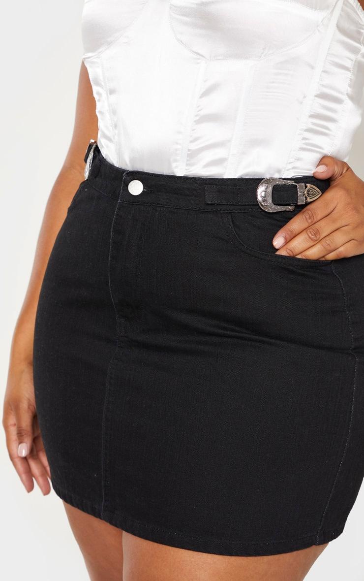 Plus Black Buckle Detail Denim Skirt 6