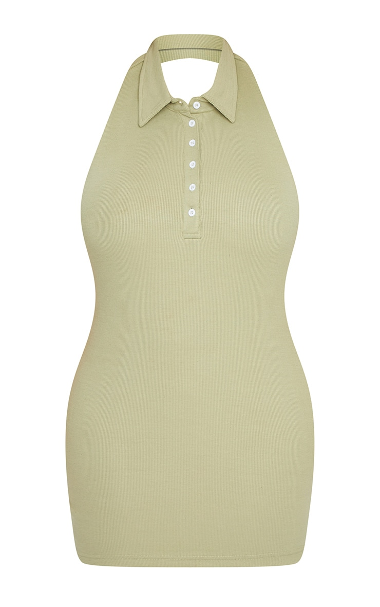 Plus Sage Green Rib Collar Detail Bodycon Dress 4