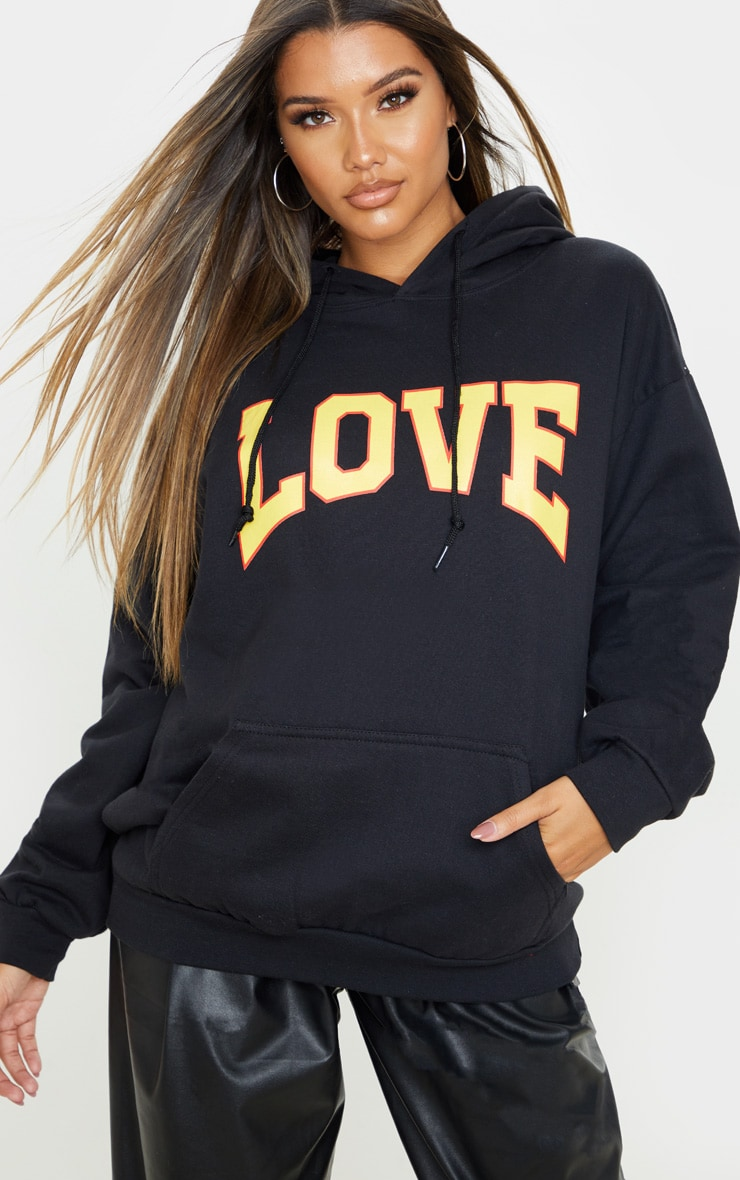 Black Love Hate Slogan Oversized Hoodie 1