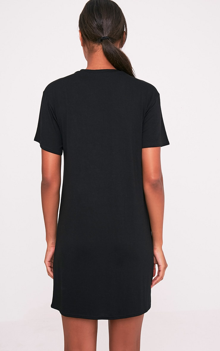 Trouble Black Slogan T-Shirt Dress 2