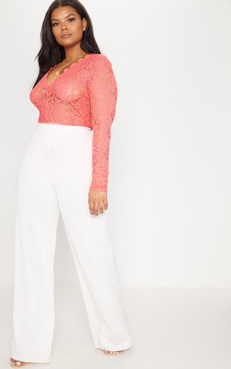 Plus Coral Sheer Lace Plunge Long Sleeve Bodysuit 5