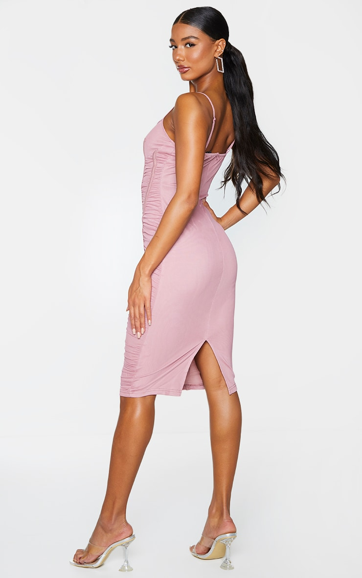Mauve Mesh Ruched Binding Detail Strappy Midi Dress 2