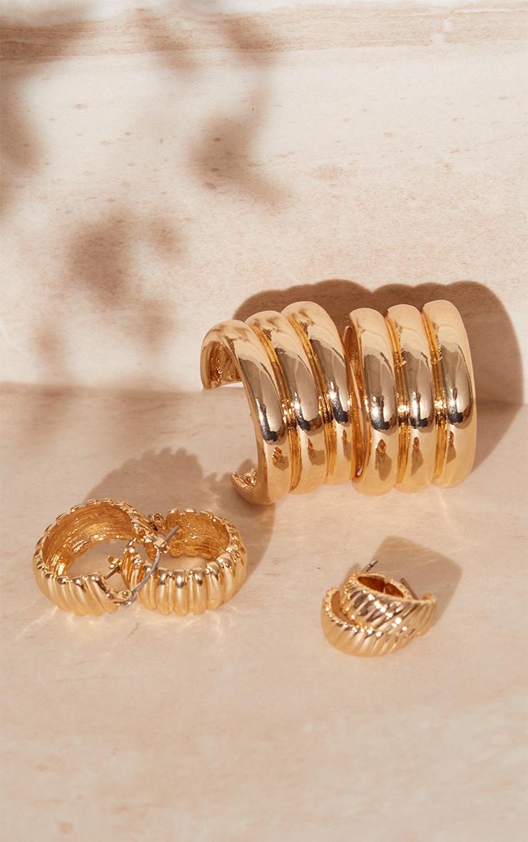 Gold Ribbed 3 Pack Assorted Hoop Earrings 2