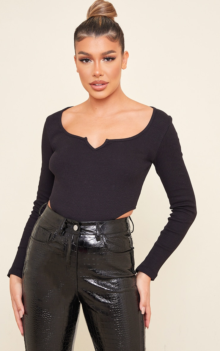 Black Rib V Cut Out Long Sleeve Bodysuit 1