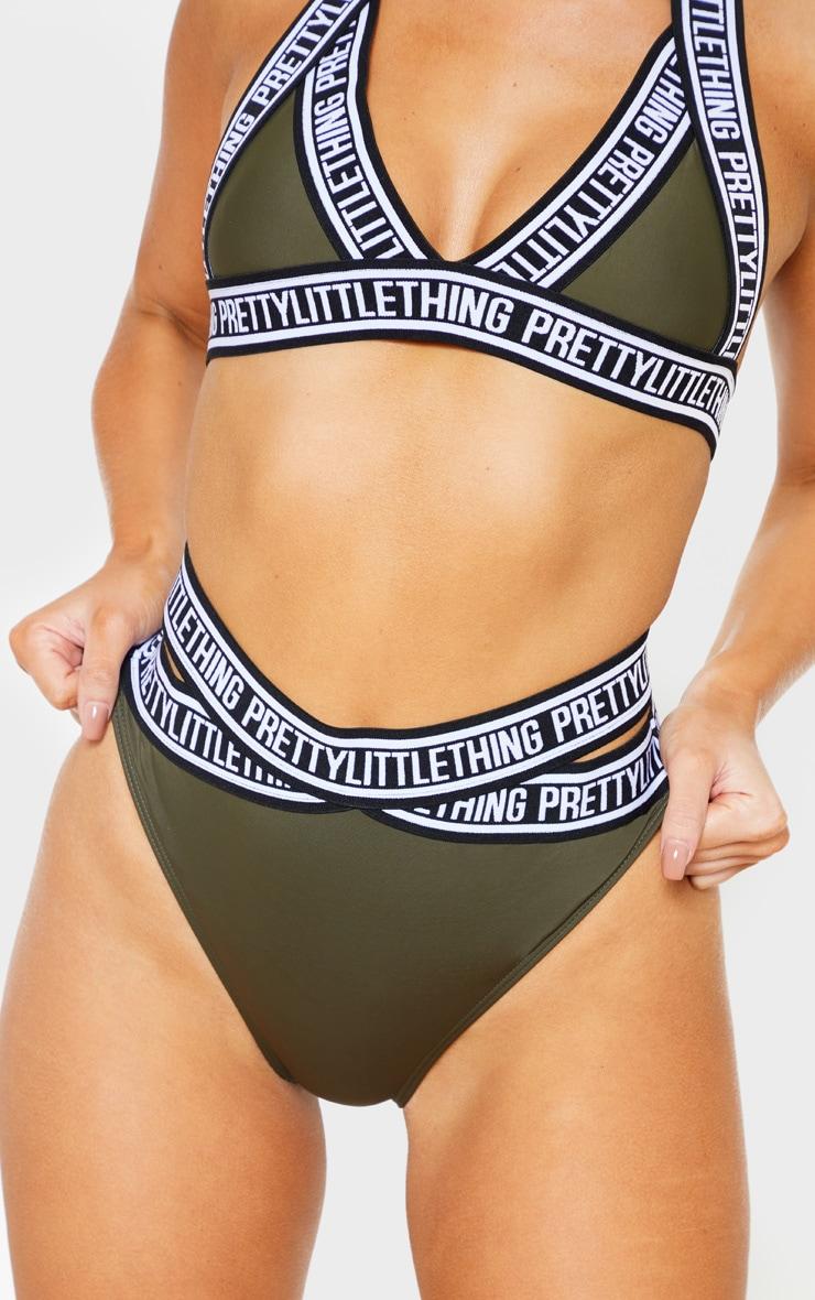 Khaki PRETTYLITTLETHING Strap Bikini Bottoms 6