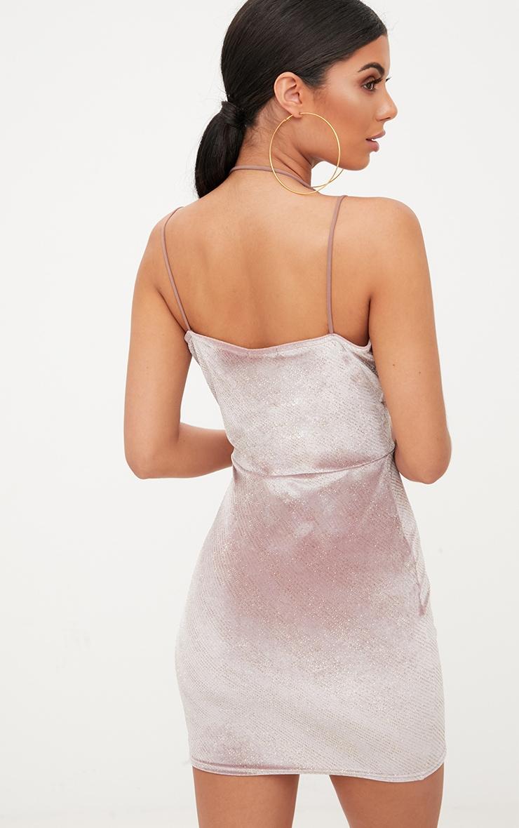 Dusty Pink Glitter Plunge Neck Strap Bodycon Dress 2