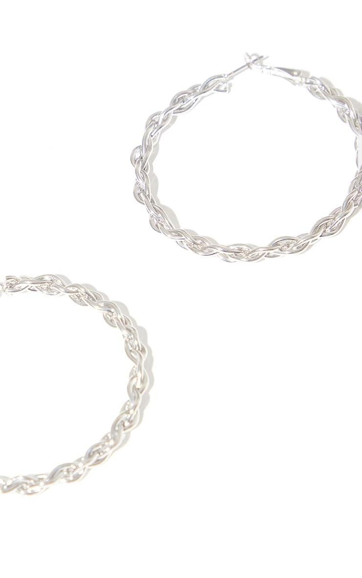 Silver Medium Twisted Hoop Earrings 3