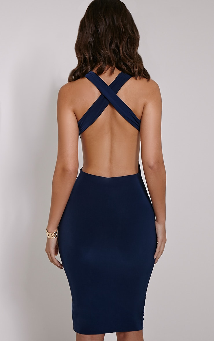Biddy Navy Deep V Plunge Cross Back Midi 2