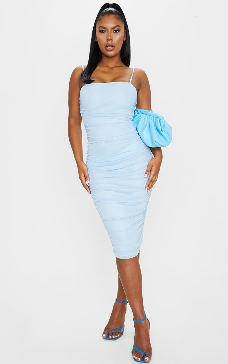 Baby Blue Strappy Mesh Midi Dress 1