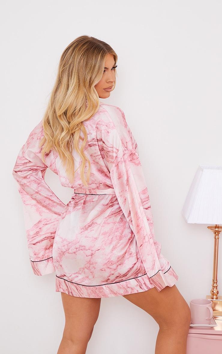 Pink Marble Print Satin Robe 2
