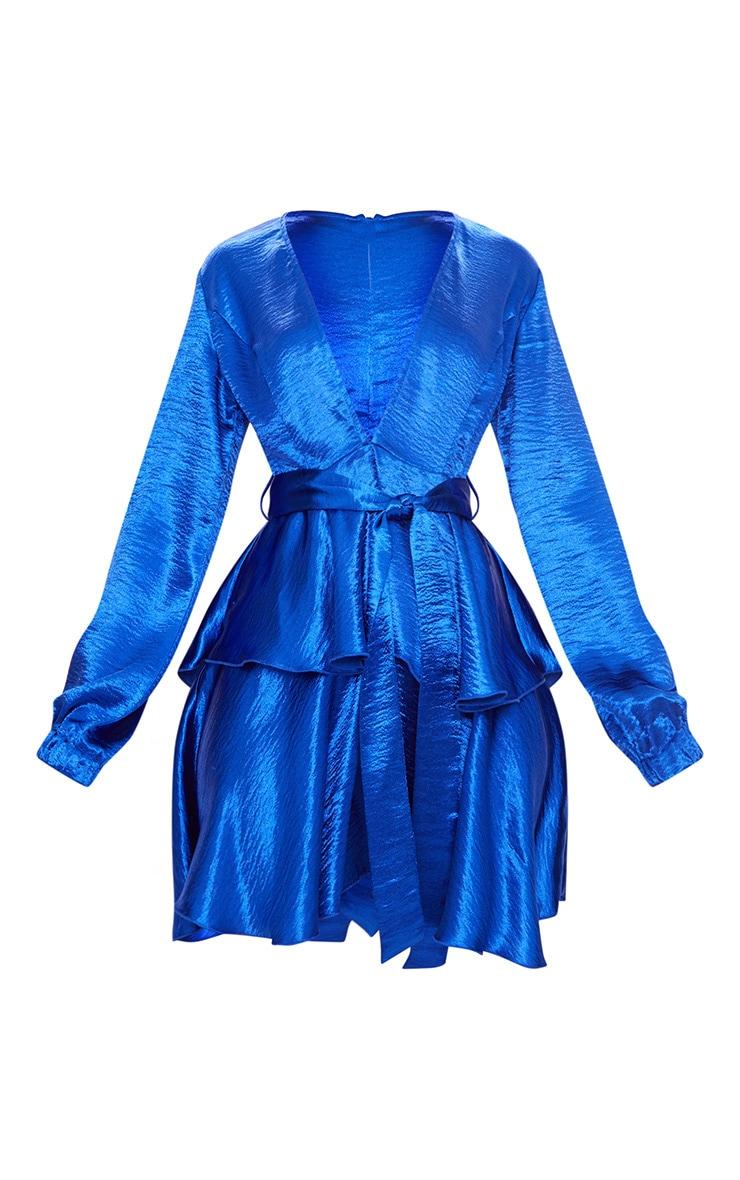 Cobalt Hammered Satin Plunge Layered Skater Dress 3