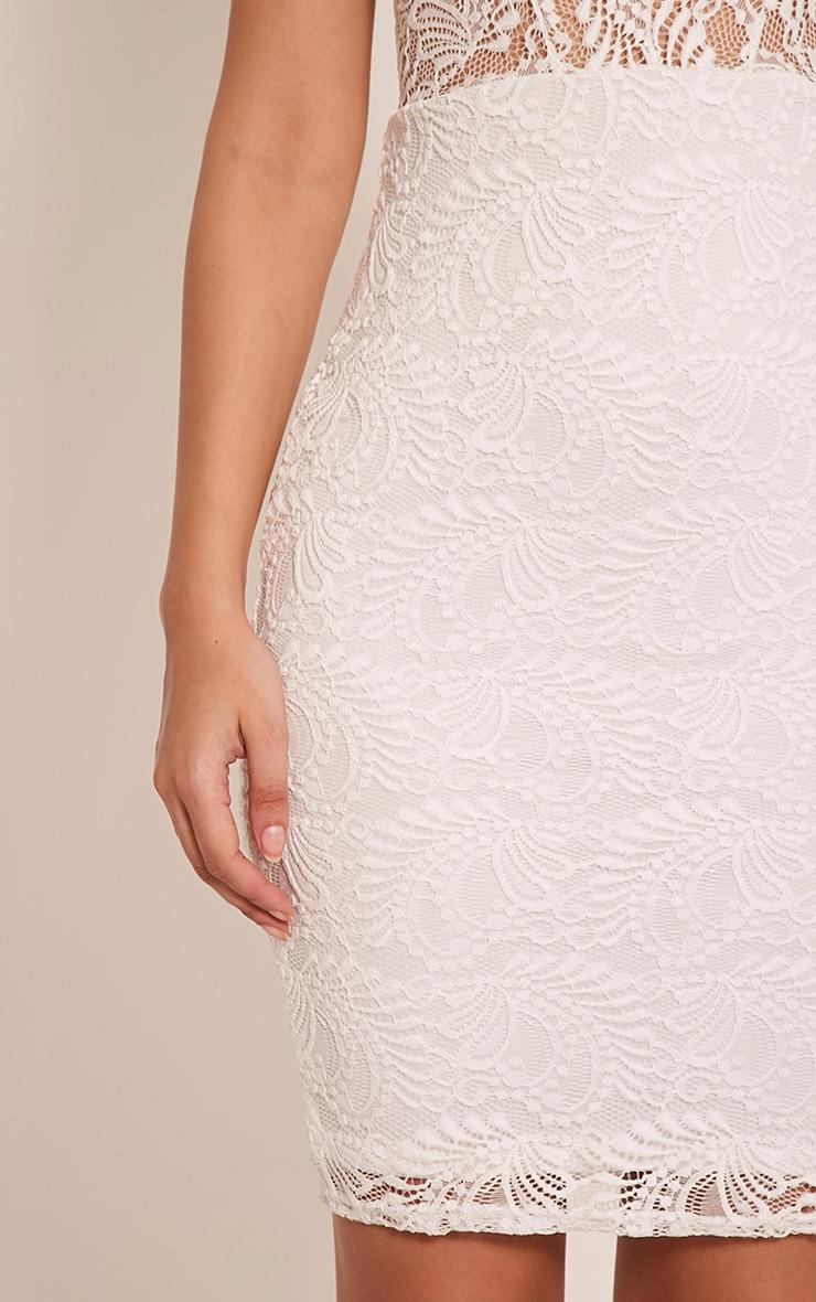 Lucila White Sheer Lace Bodycon Dress 6