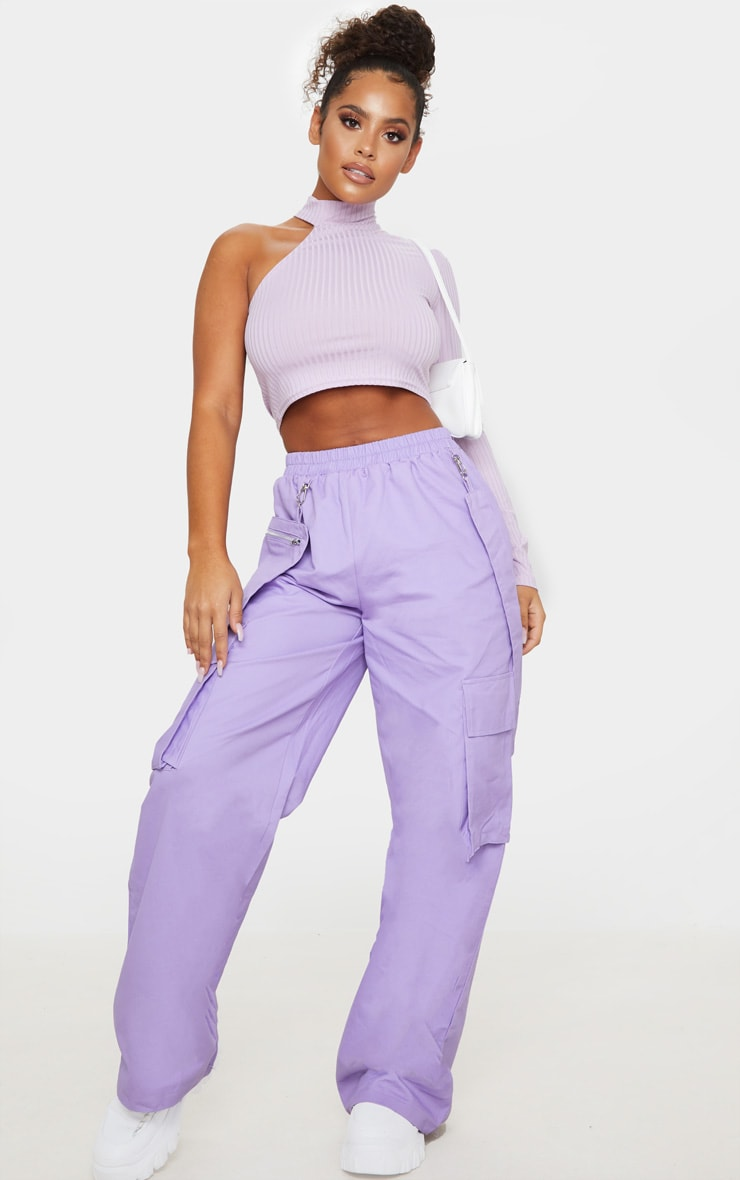 Lilac Cut Out One Sleeve Ribbed Crop Top 3