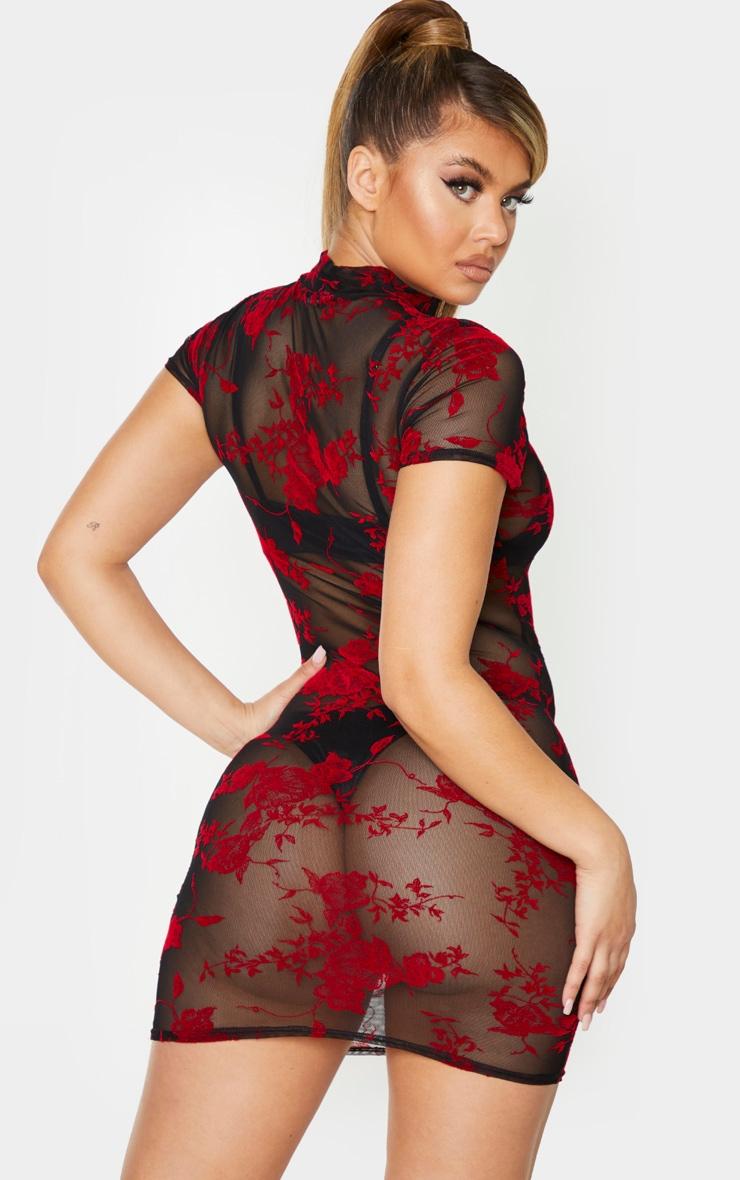 Black Floral Print Flocked Mesh Bodycon Dress 3