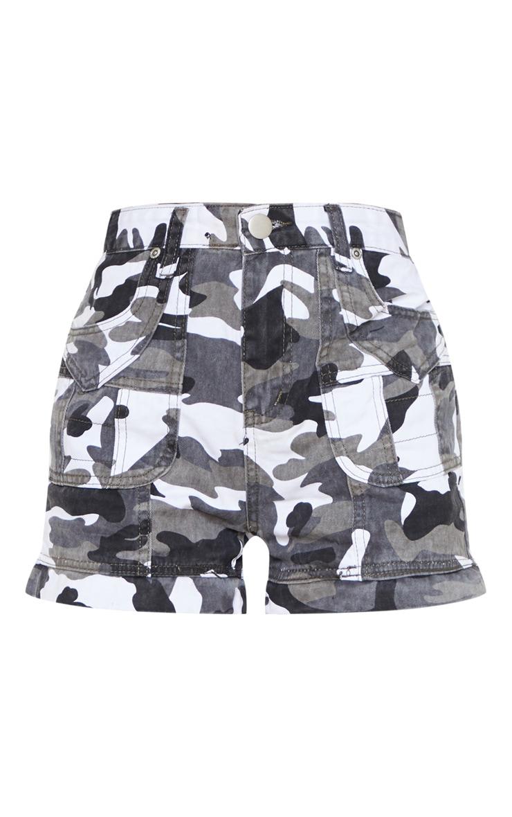 Grey Camo Utility Stitched Detail Denim Shorts 3