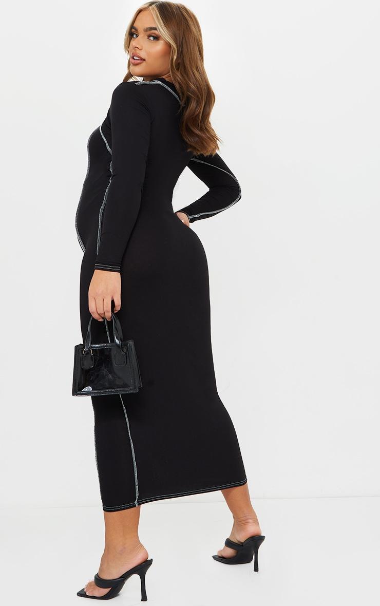 Maternity Black Cut Out Midi Dress 2