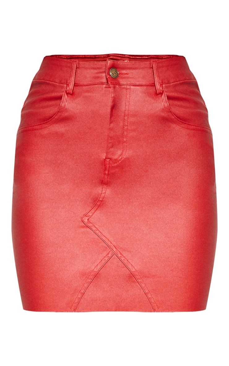 Red Coated Denim Mini Skirt  3