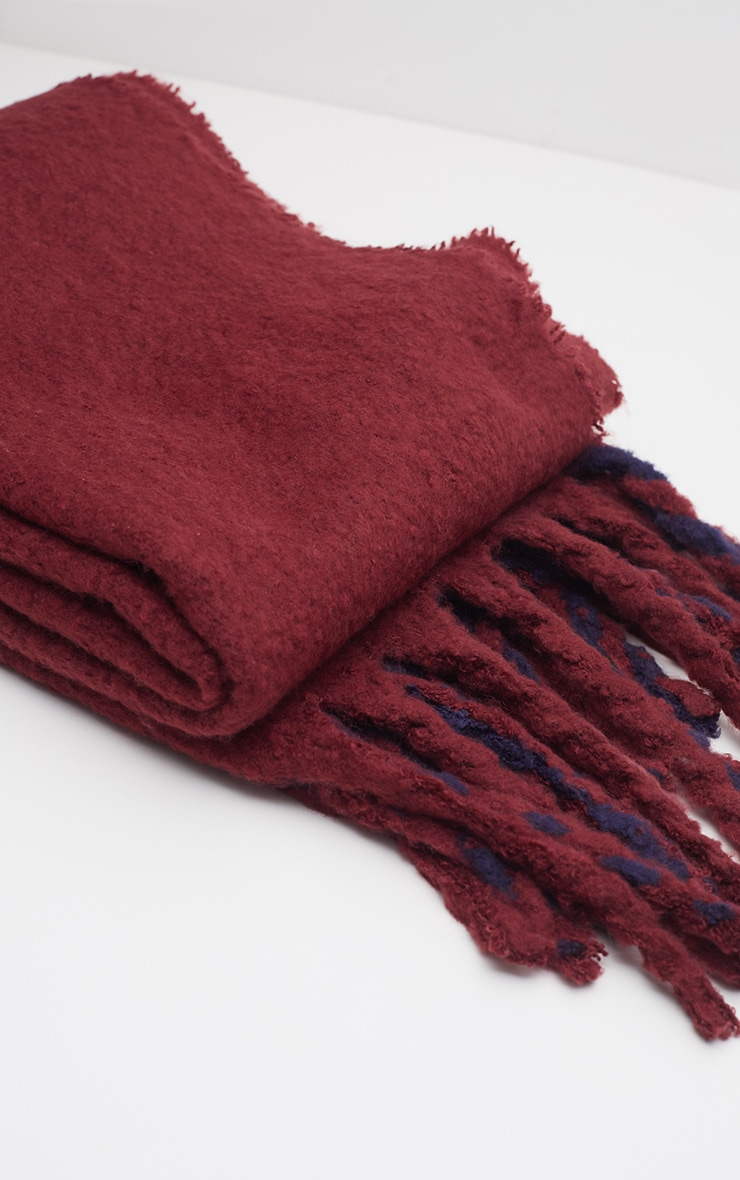 Burgundy Striped Blanket Tassel Scarf 3