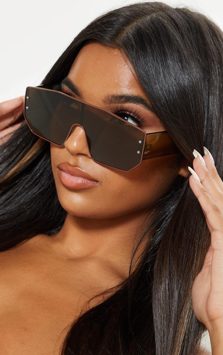 Khaki Tonal Visor Sunglasses 1