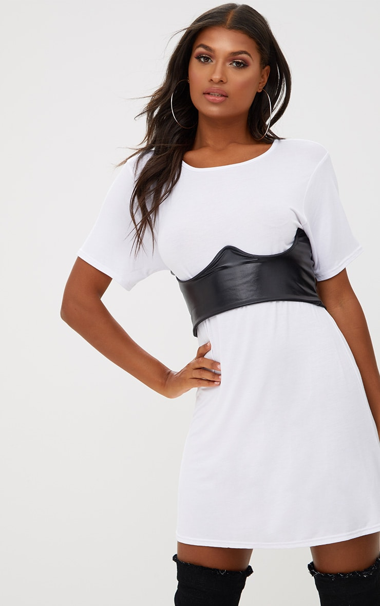 White Contrast Corset Detail T Shirt Dress  1