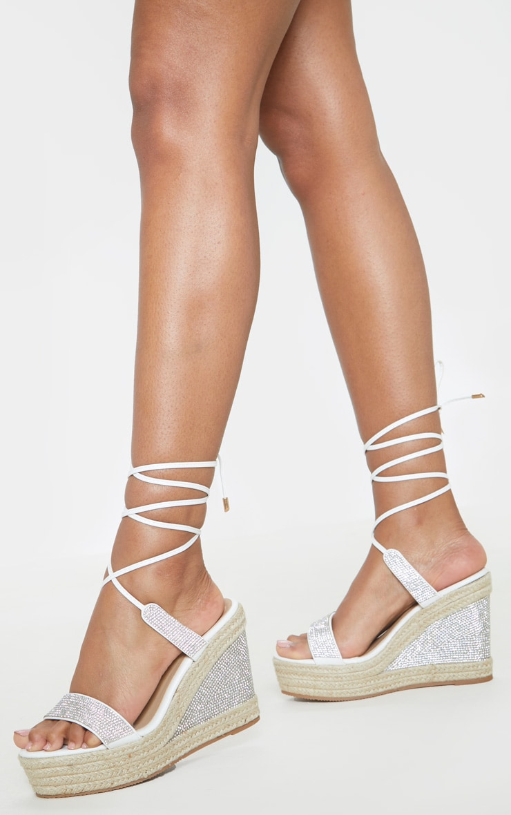 White Diamante Ankle Tie High Wedge 2