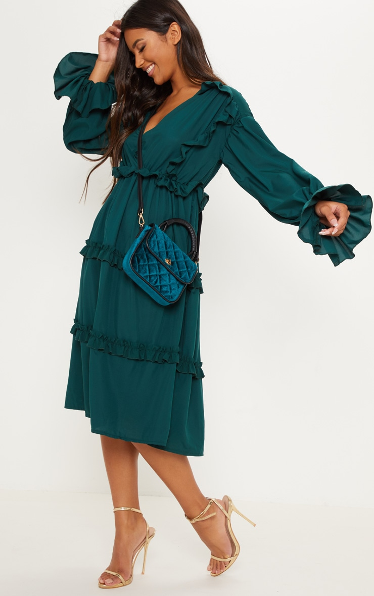 Emerald Green Frill Detail Floaty Midi Dress