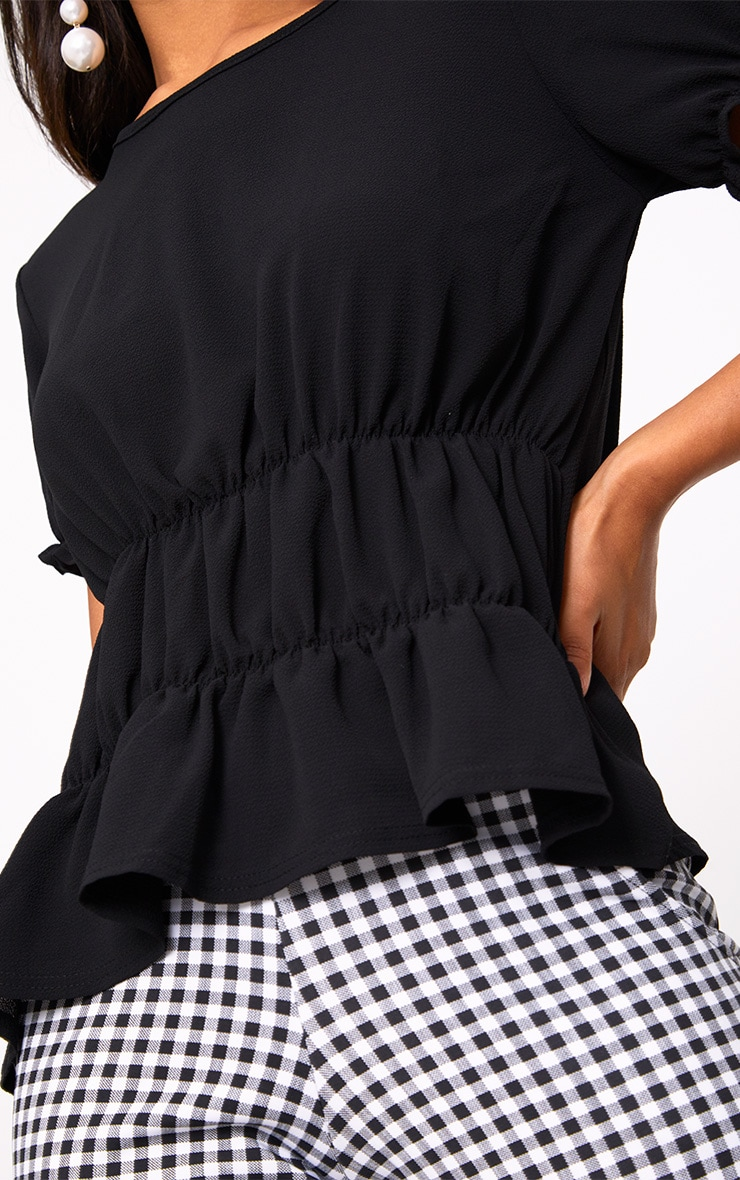 Black Ruched Crew Neck Blouse 5