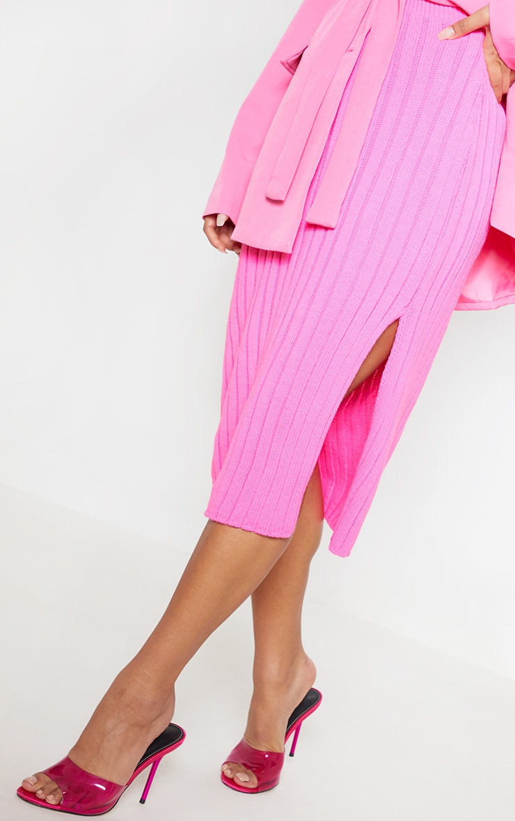 Hot Pink Knitted Ribbed Midi Skirt 5