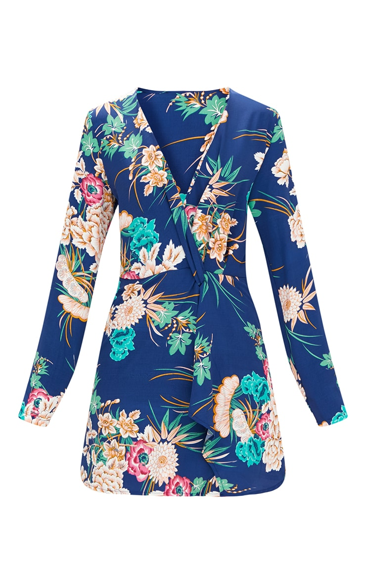 Blue Floral Long Sleeve Wrap Dress 3