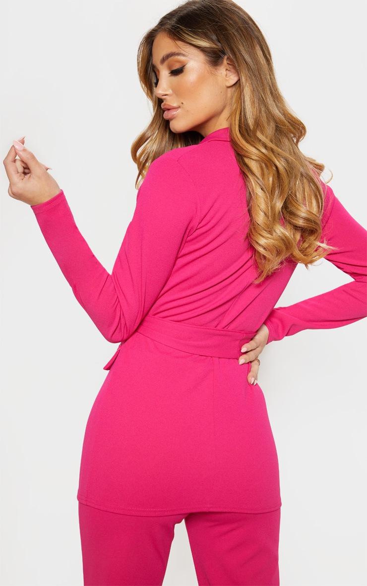 Pink Crepe Belted Longline Blazer 2