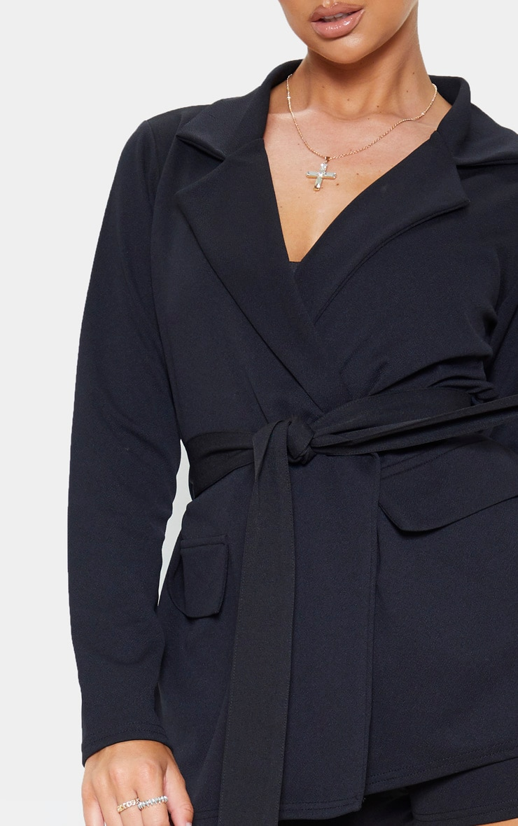 Black Belted Pocket Detail Blazer 5