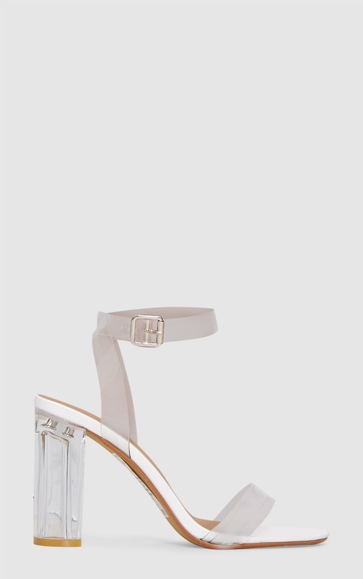White Clear Block Heel Sandal 3