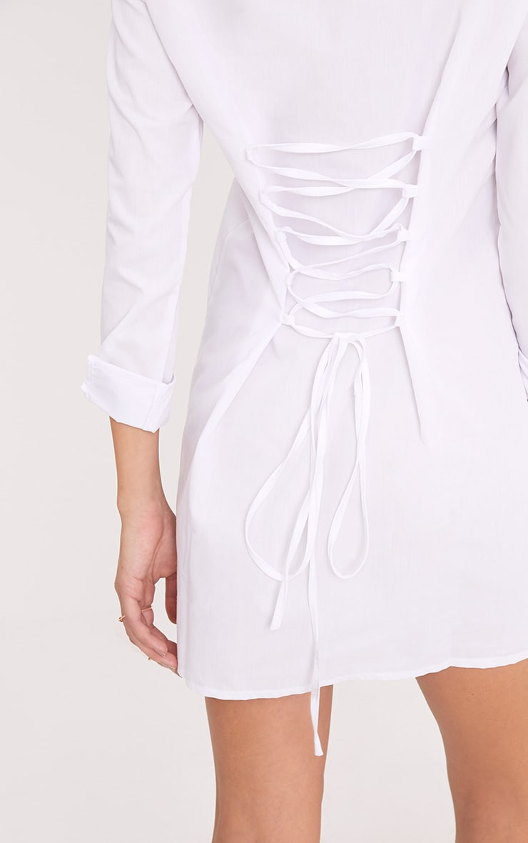 Olivia White Corset Back Shirt Dress 5